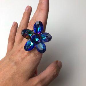 90s plastic flower gem ring 🌺